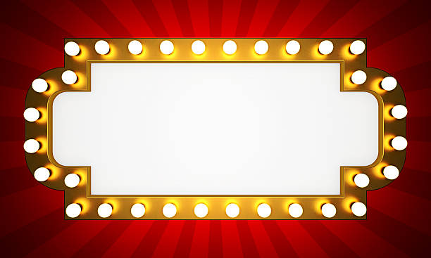 golden retro cinema banner - circus background stock photos and pictures