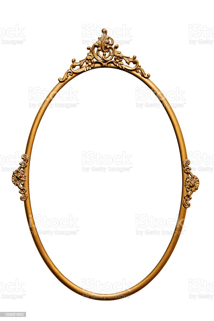 Golden retro mirror frame, isolated on white (No#5) stock photo