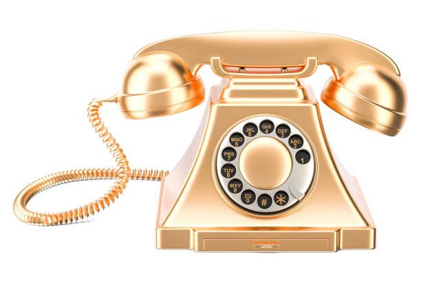 golden retro phone, 3d rendering isolated on white background - call center стоковые фото и изображения