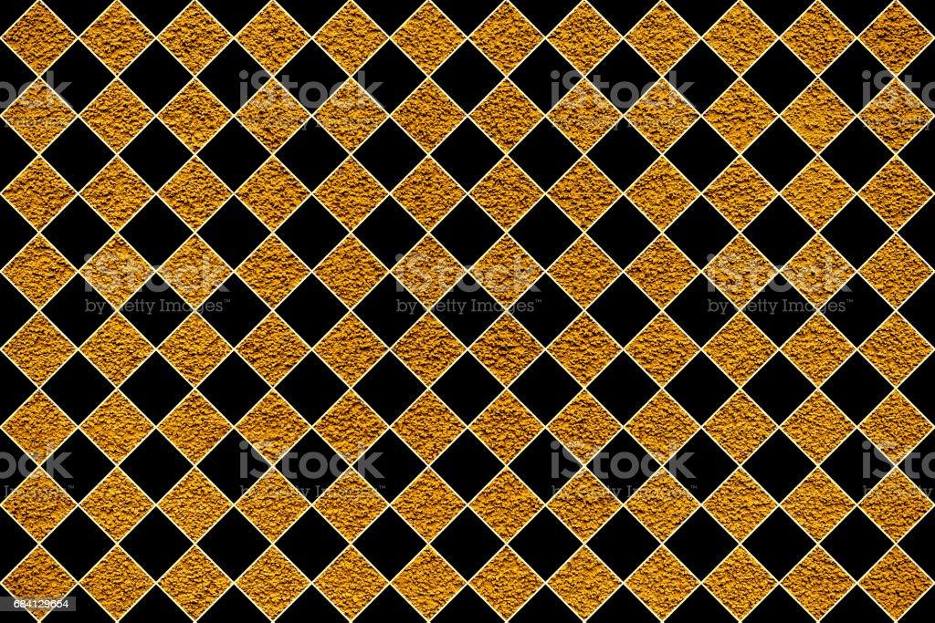 Golden revetment wall putty macro texture background black rhombus styled royalty free stockfoto