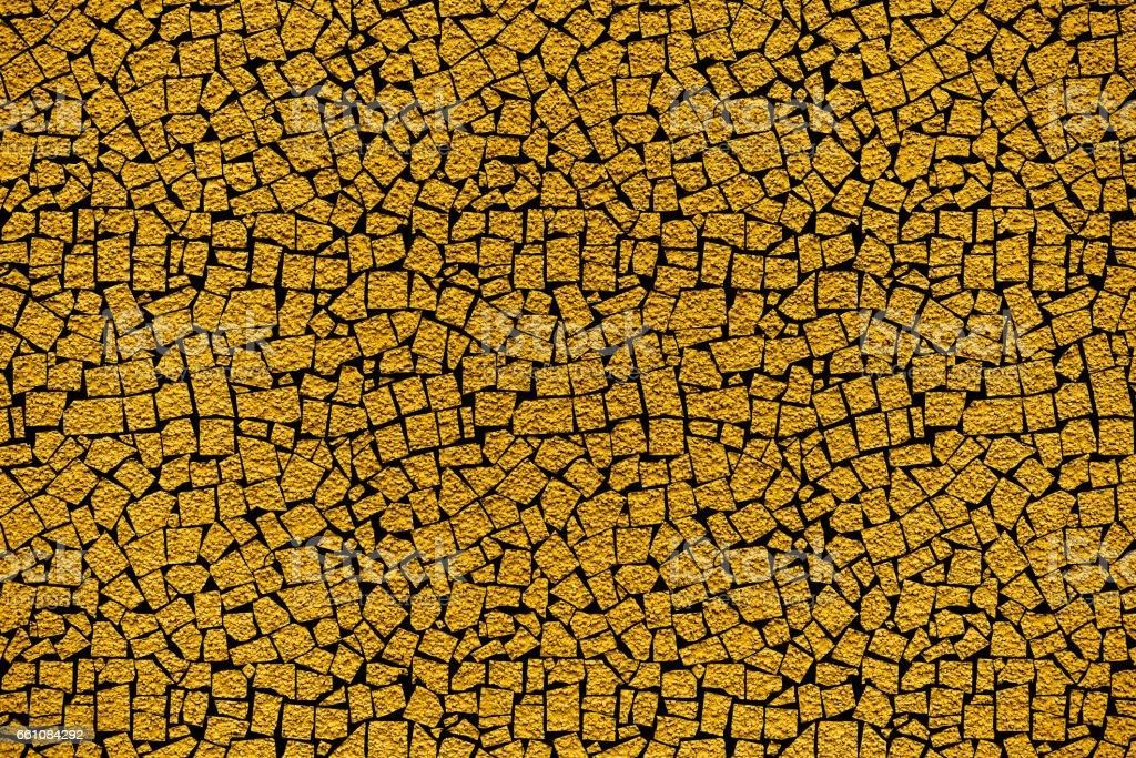 Golden Revetment Wall Putty Macro Texture Background Mosaic