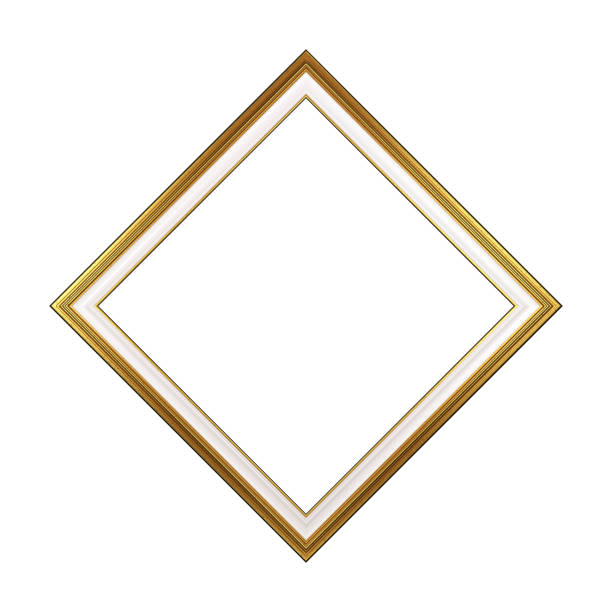 Golden Rhombus Empty Picture Frame Isolated stock photo