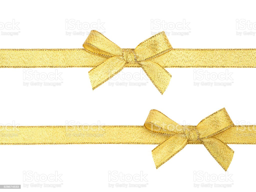 Golden ribbon and bow isolated stock photo