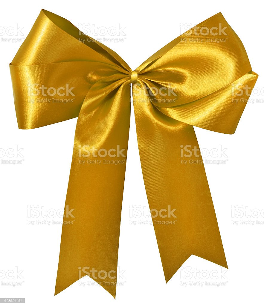 Golden ribbon and bow on white with clipping path stock photo