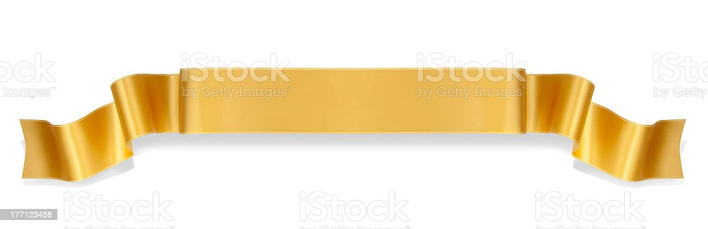 Golden ribbon banner in the center of a white background stock photo