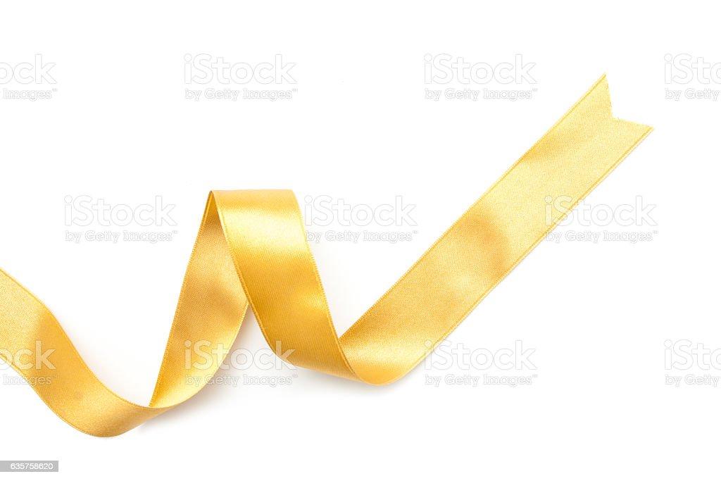golden ribbon border isolated on white stock photo