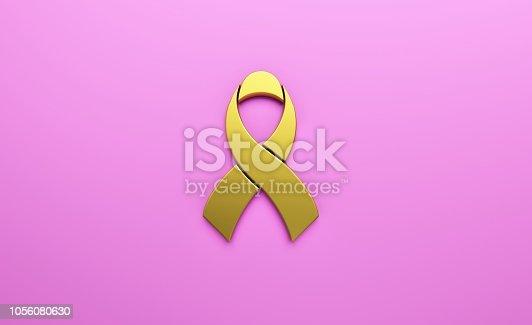 istock Golden Ribbon in Light Pink background. 3D Render illustration 1056080630