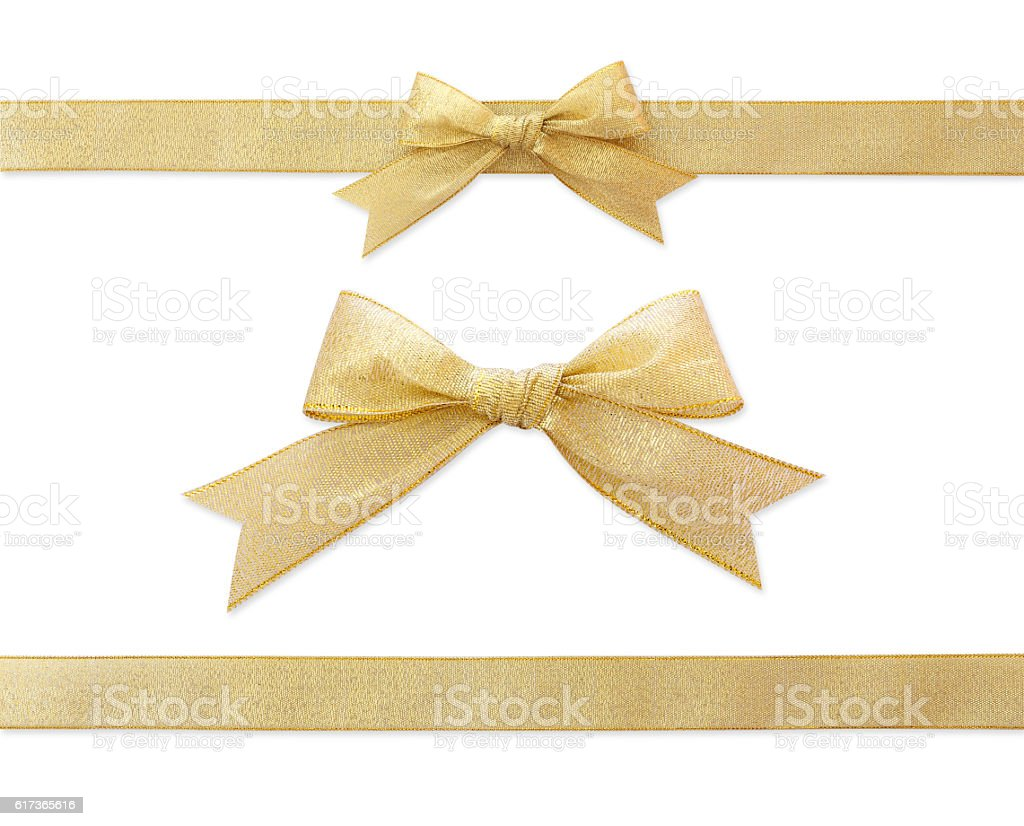 golden ribbon isolated on white stock photo