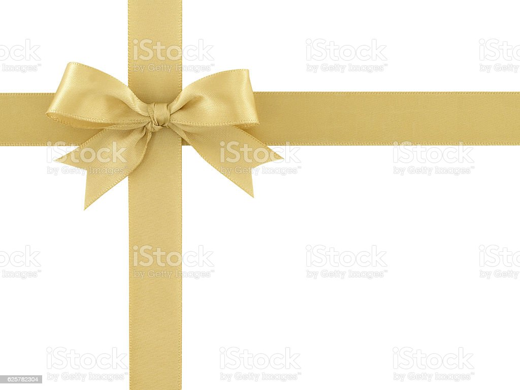 golden ribbon with bow isolated on white background – Foto