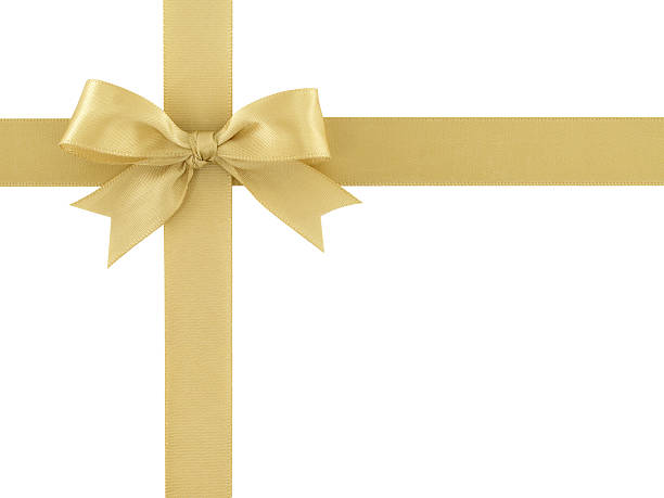 golden ribbon with bow isolated on white background stock photo