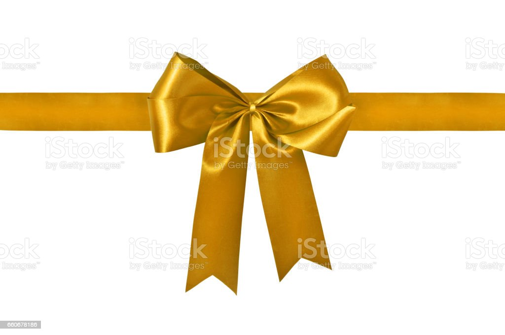 Golden ribbon with bow with tails isolated stock photo