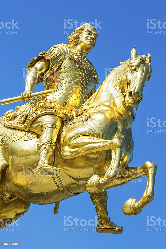 Golden Rider in Dresden royalty-free stock photo