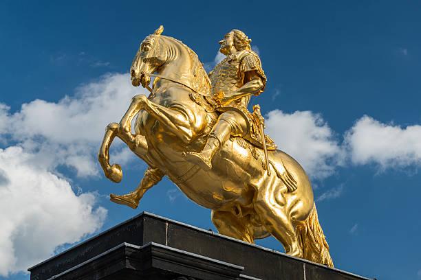 Golden Rider Monumet in Dresden stock photo