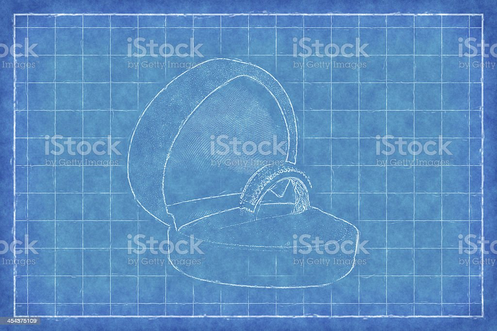 Golden ring in box - Blue Print royalty-free stock photo