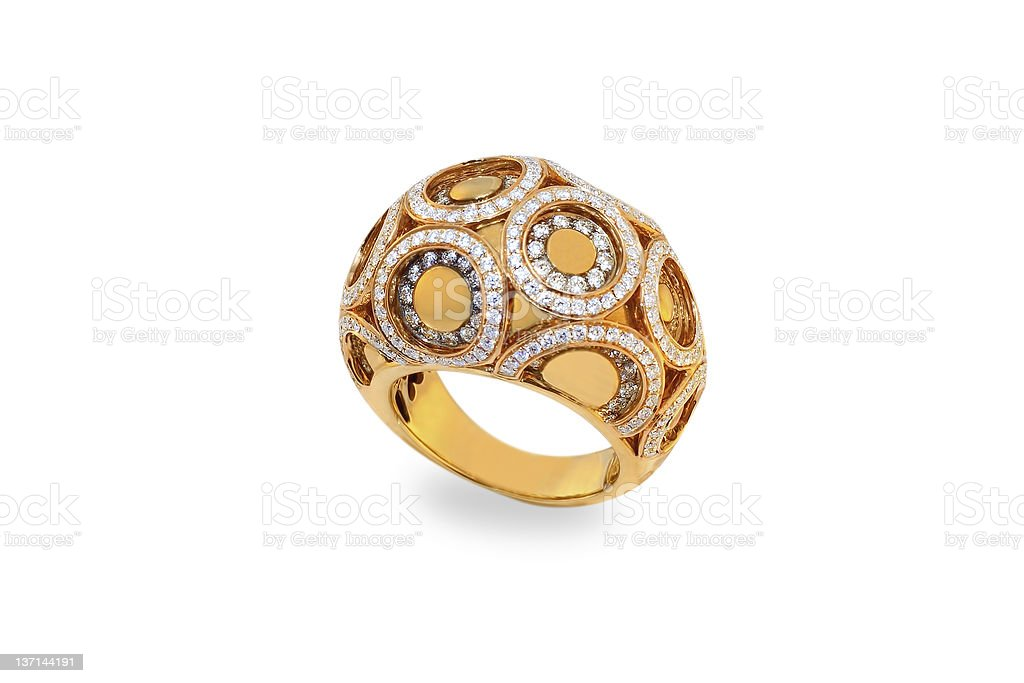 golden ring with diamonds royalty-free stock photo