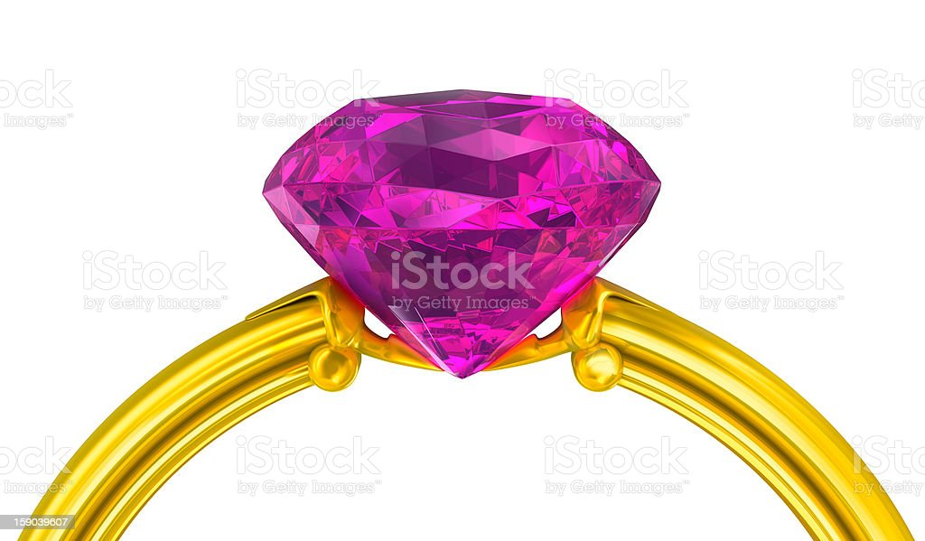 Golden ring with jewel sapphire stone on white royalty-free stock photo