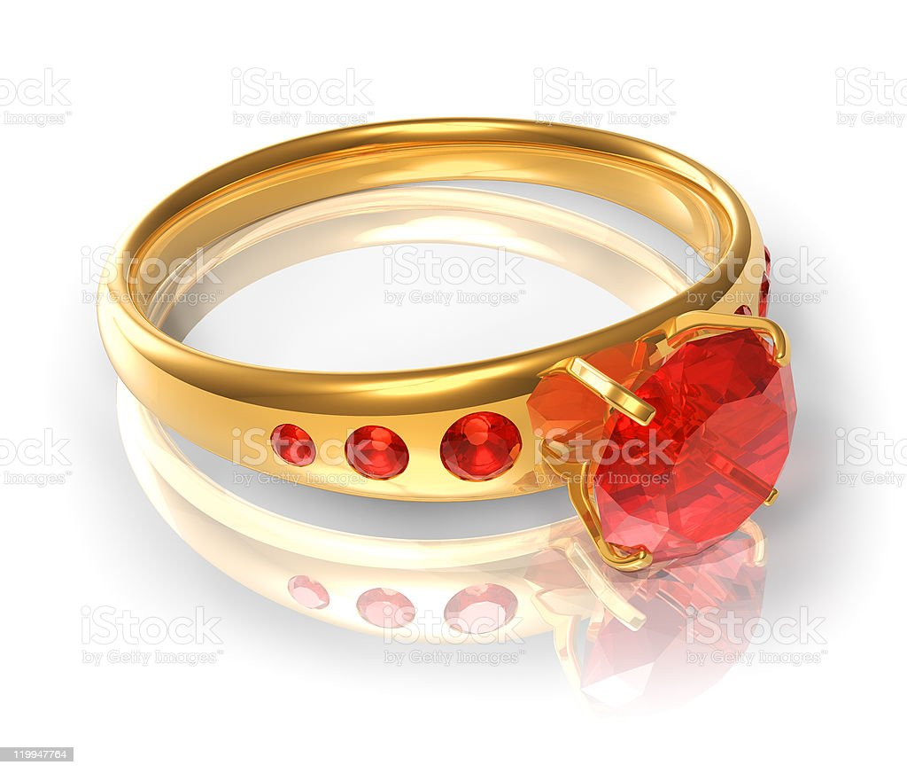 Golden ring with red jewels royalty-free stock photo