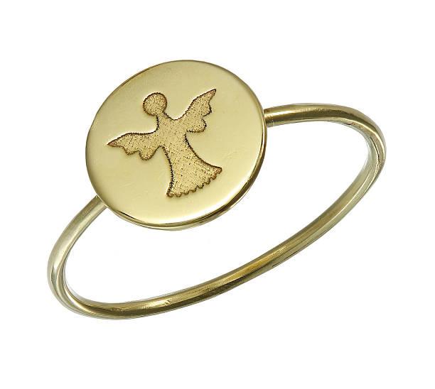 golden ring with symbol on white - schmuck engel stock-fotos und bilder