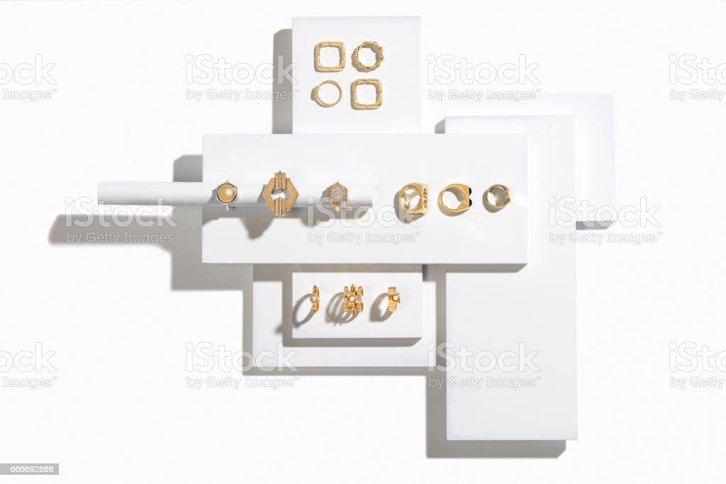 Golden rings stock photo