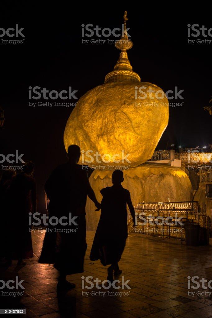 Golden Rock in Kyaikhtiyo, Burma stock photo