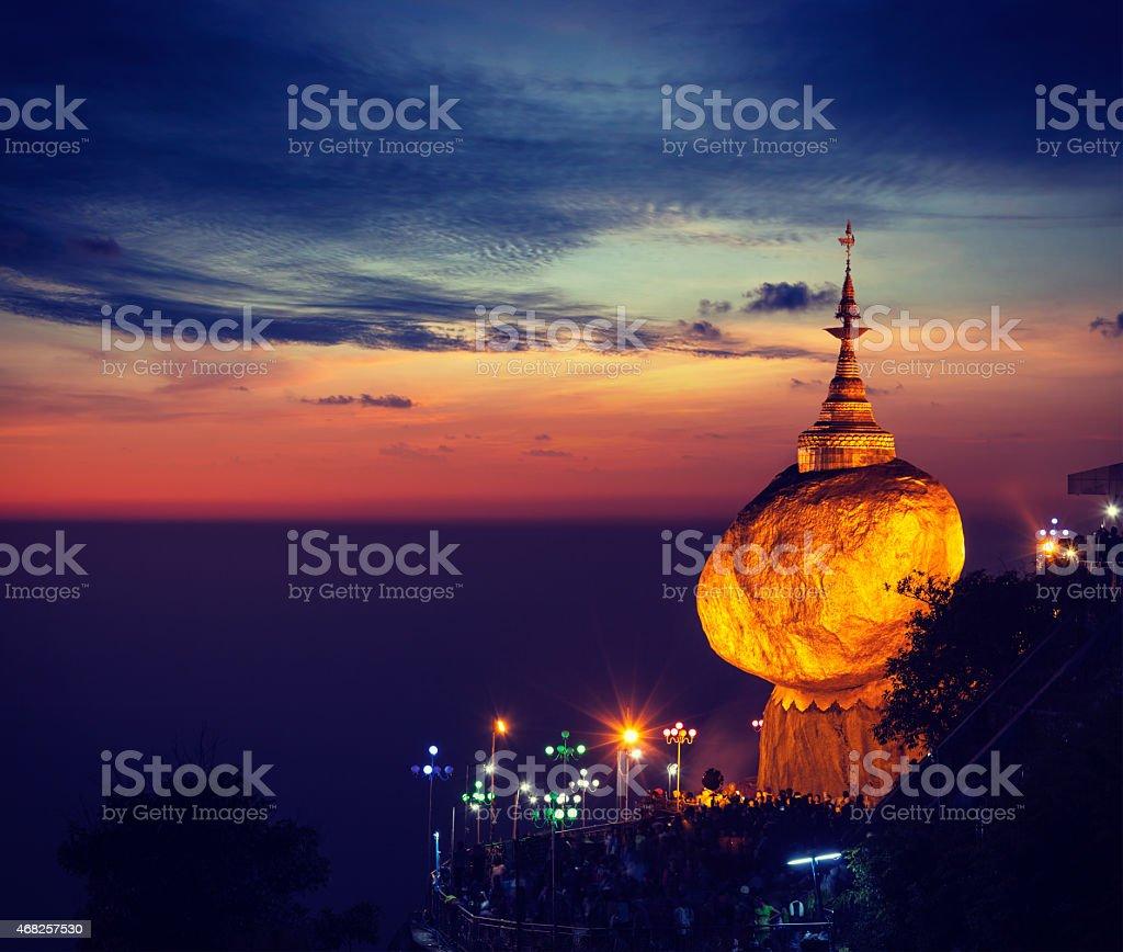 Golden Rock - Kyaiktiyo Pagoda, Myanmar stock photo