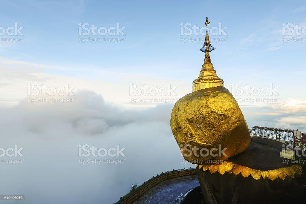 Golden rock mist in the morning, Kyaiktiyo Pagoda in Yangon, Myanmar stock photo