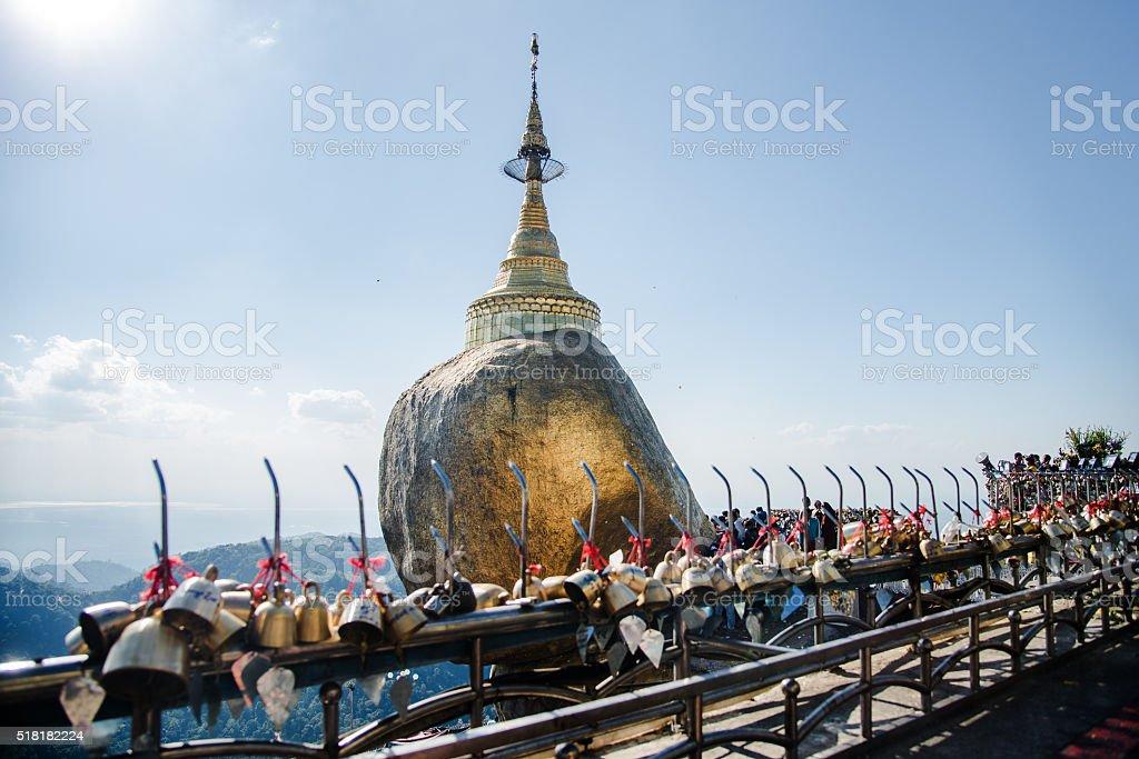 Golden Rock Myanmar Asia stock photo