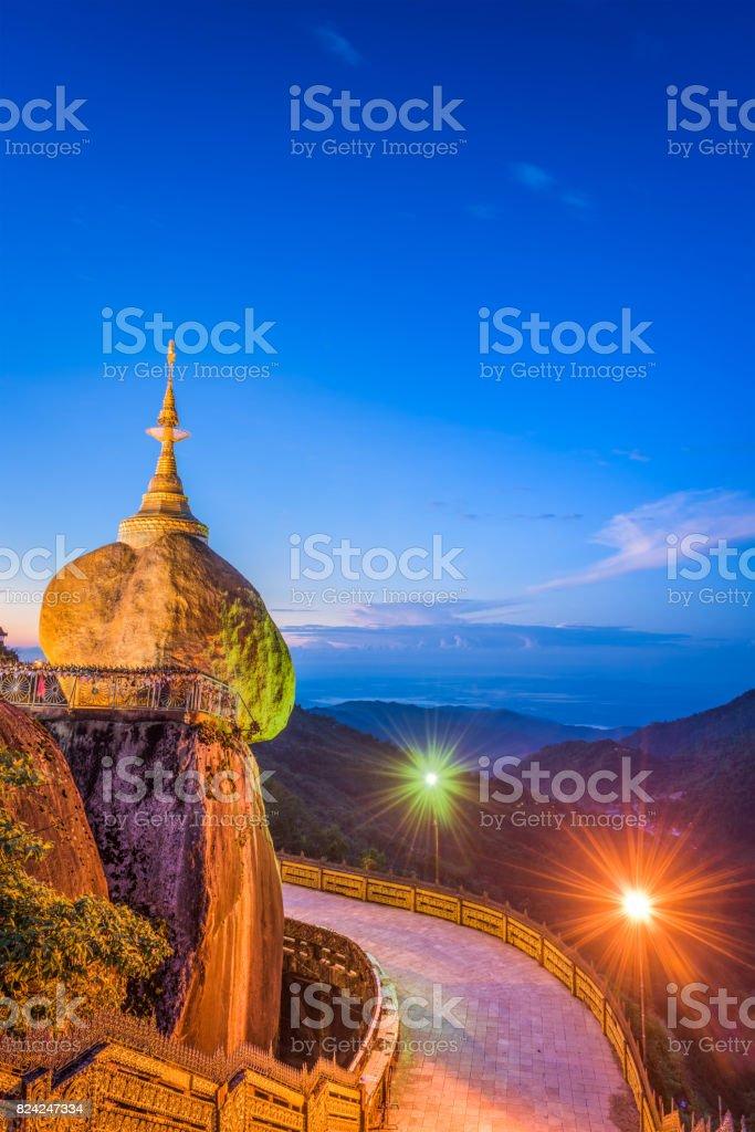 Golden rock of Myanmar stock photo