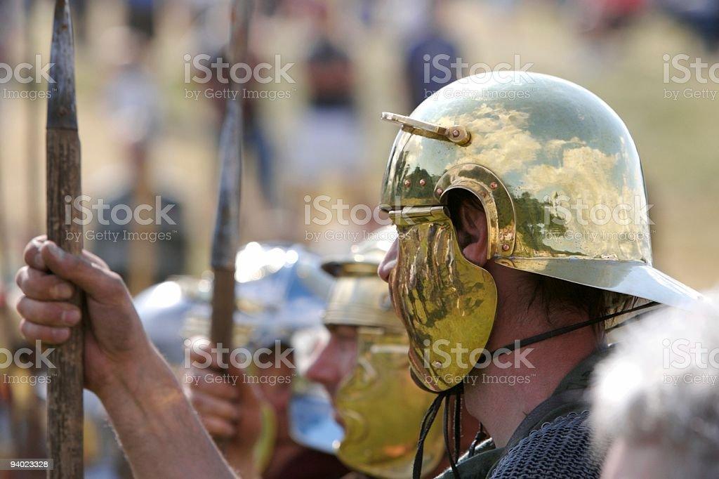 Golden Roman Helmet stock photo