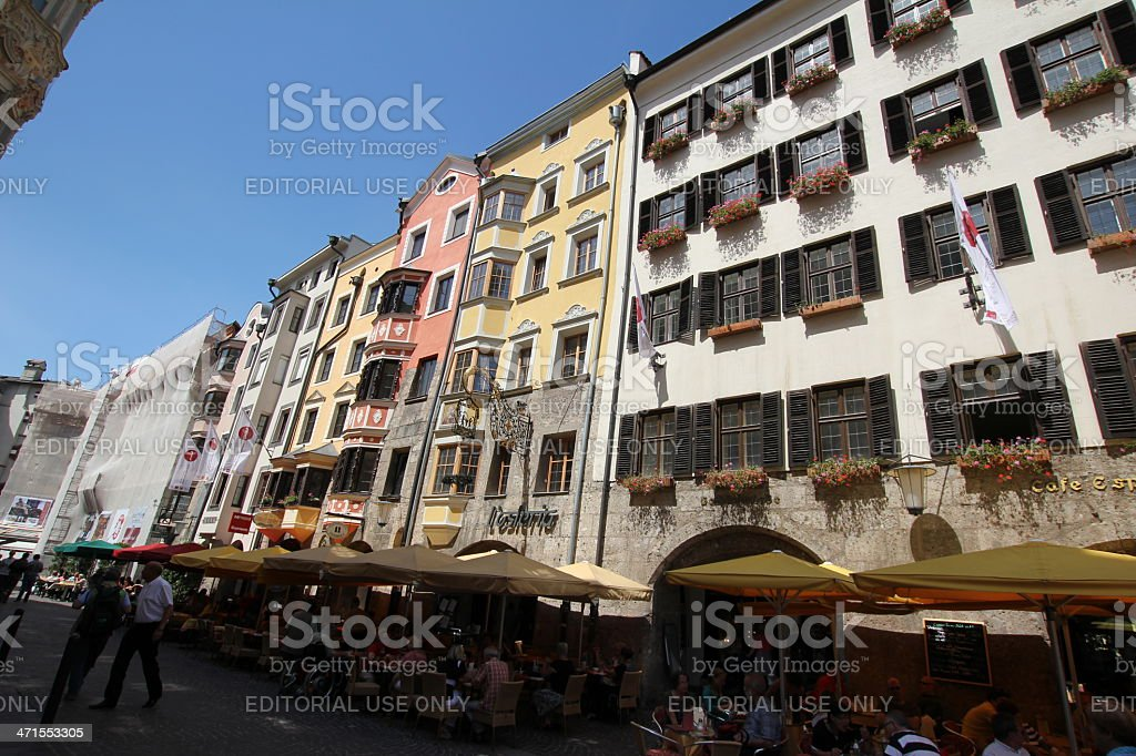 Golden Roof in Centre of Historic Old Town, Innsbruck, Austria stock photo