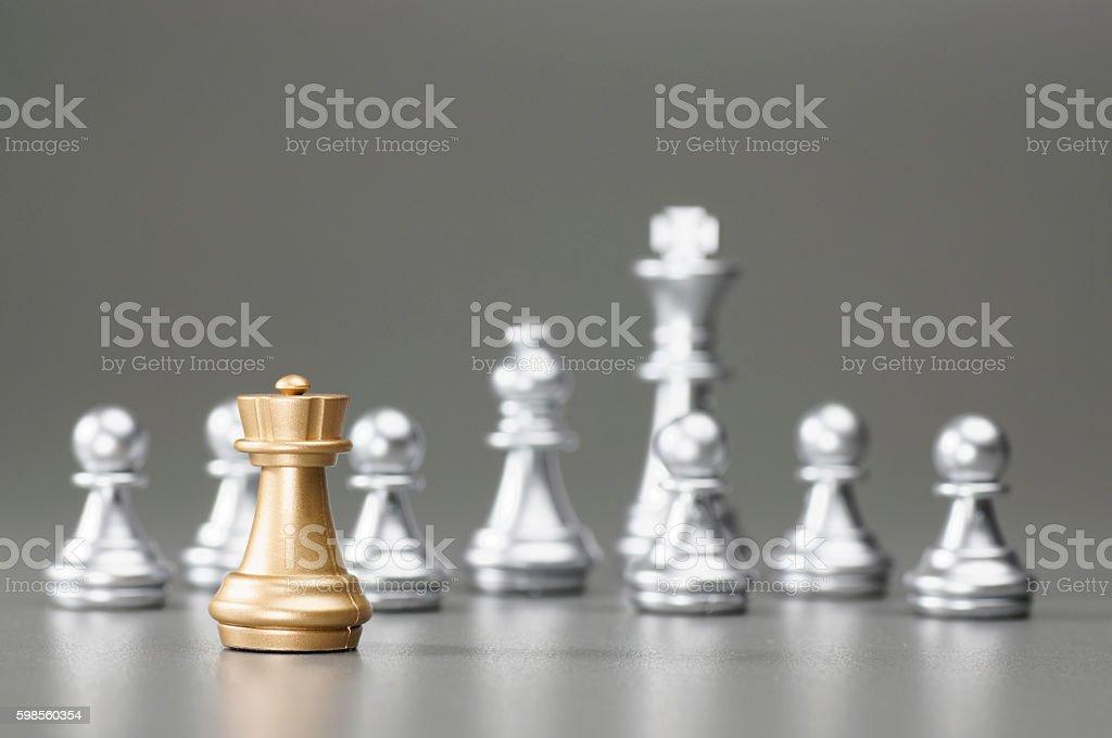 Golden Rook chess stock photo