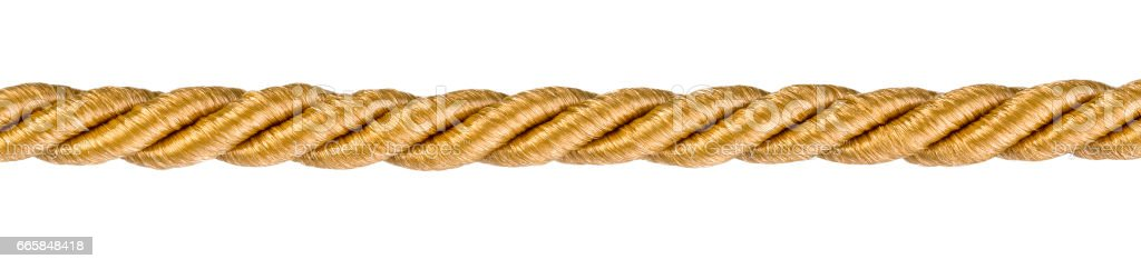 Golden rope izolated stock photo