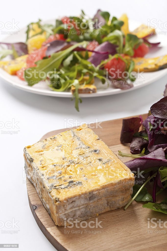 golden  roquefort cheese and healthy salad royalty-free stock photo