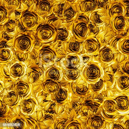 3D illustration of metallic gold roses