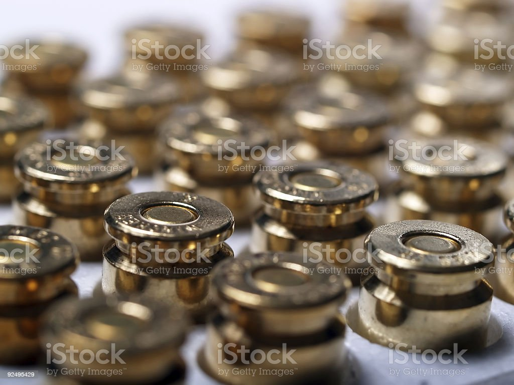 Golden rows of Bullets royalty-free stock photo