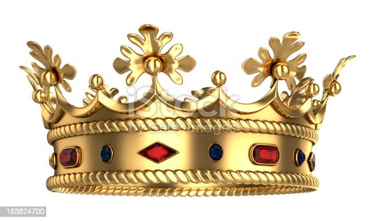 istock Golden royal crown with red and blue gemstones 153824700