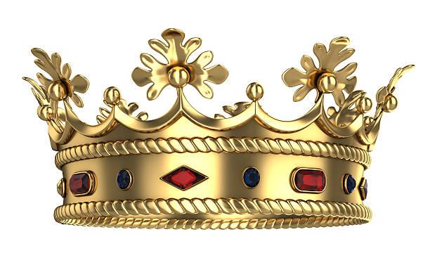 golden königlichen krone mit roten und blauen edelsteinen - könig stock-fotos und bilder