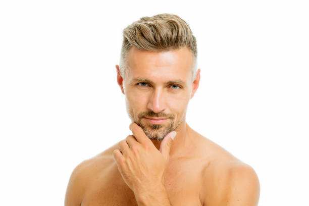 Golden rules of shaving. Barber hairdresser and self care. Male fashion and beauty. Bearded hipster shaving. Man handsome appearance well groomed bristle close up. Preparation for comfortable shaving stock photo