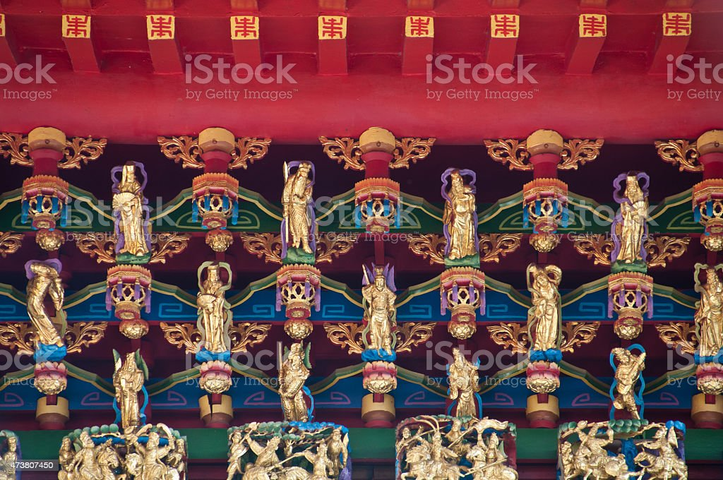 Golden sacred dolls in Taiwan Wen Wu temple stock photo