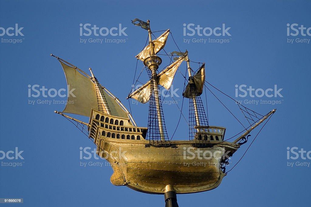 Golden sailing ship royalty-free stock photo