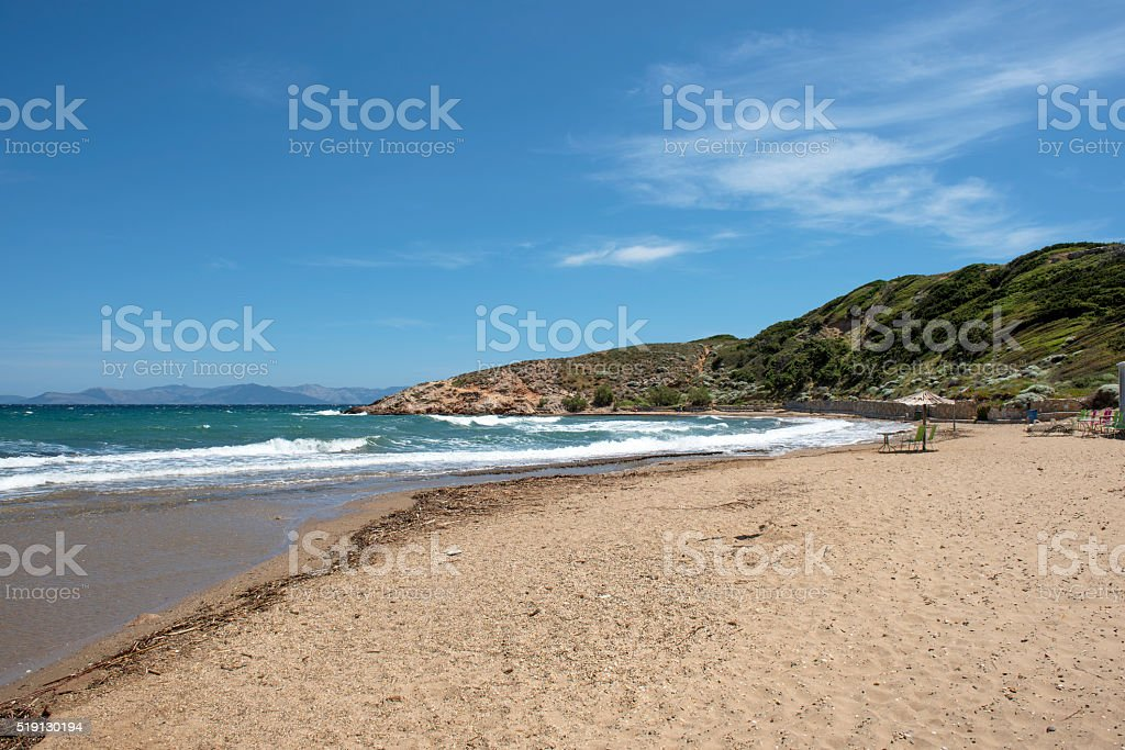 Golden sand beach stock photo