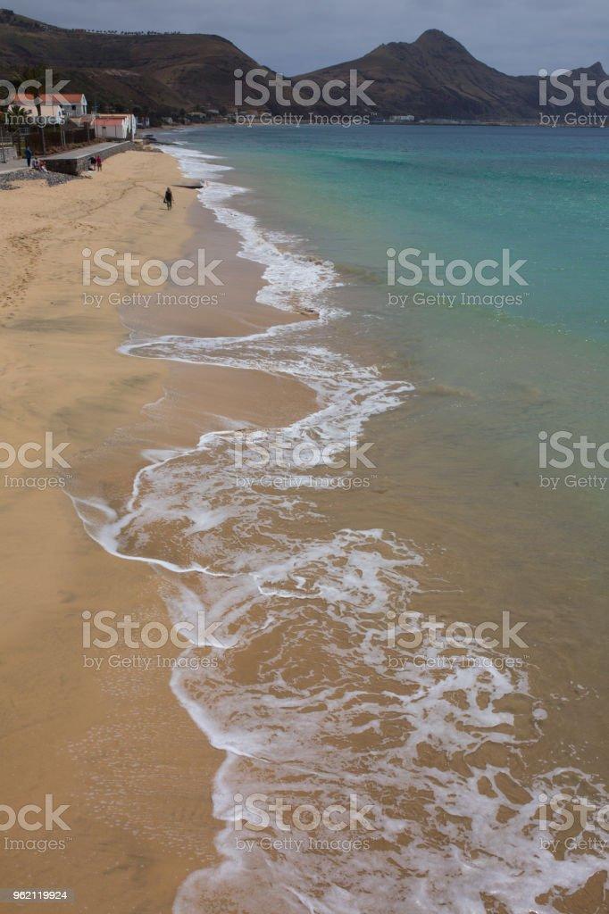 Golden sand beach view of Porto Santo island, Madeira stock photo