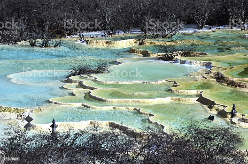 Golden Sand on Earth at Huanglong stock photo