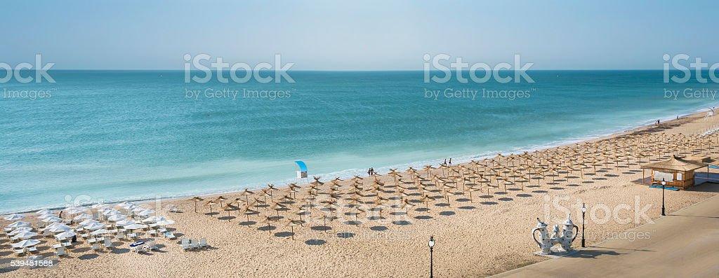 Golden Sands Beach at the Black Sea in Varna, Bulgaria stock photo