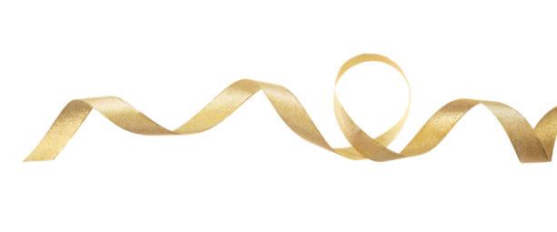 golden satin ribbon isolated on white background, banner - ribbon стоковые фото и изображения
