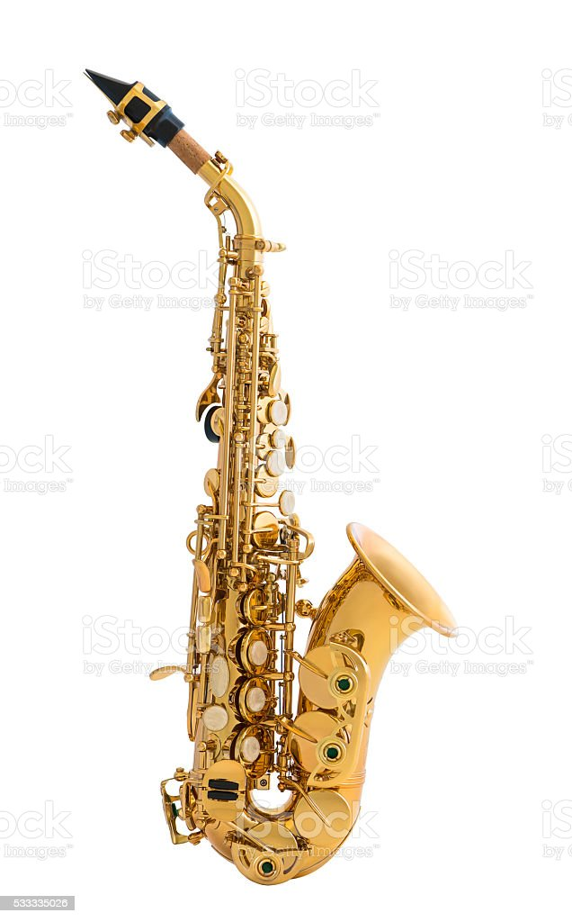 Golden Saxophone Isolated on White Background stock photo