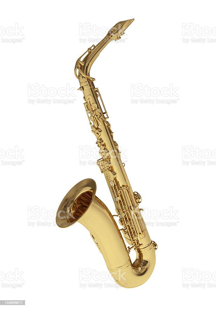 Golden saxophone on white background royalty-free stock photo