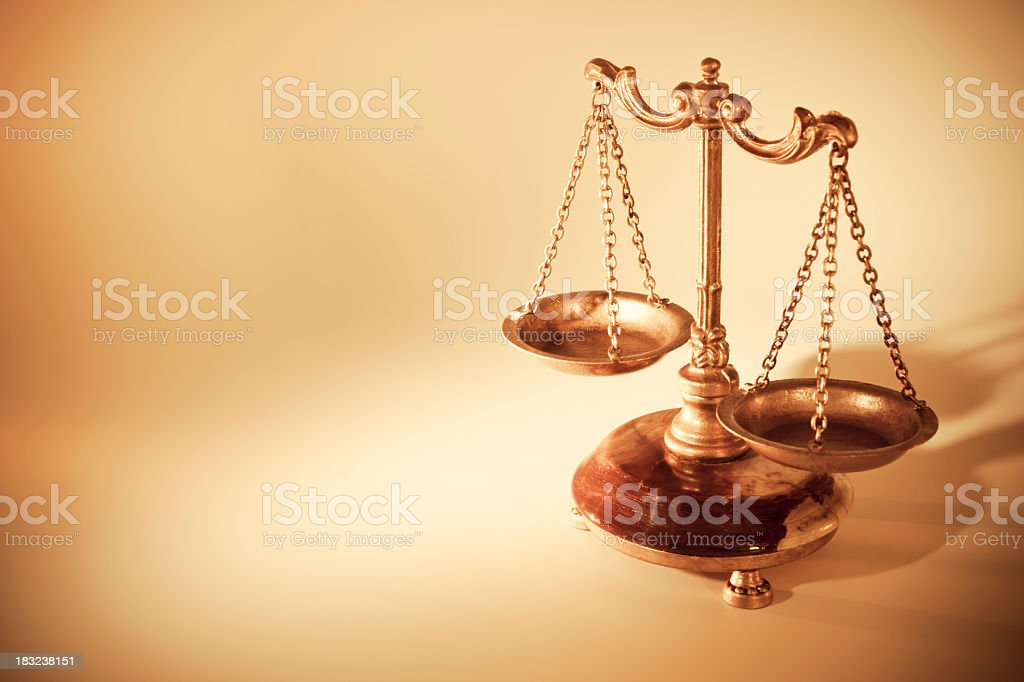 Golden scales of justice stock photo