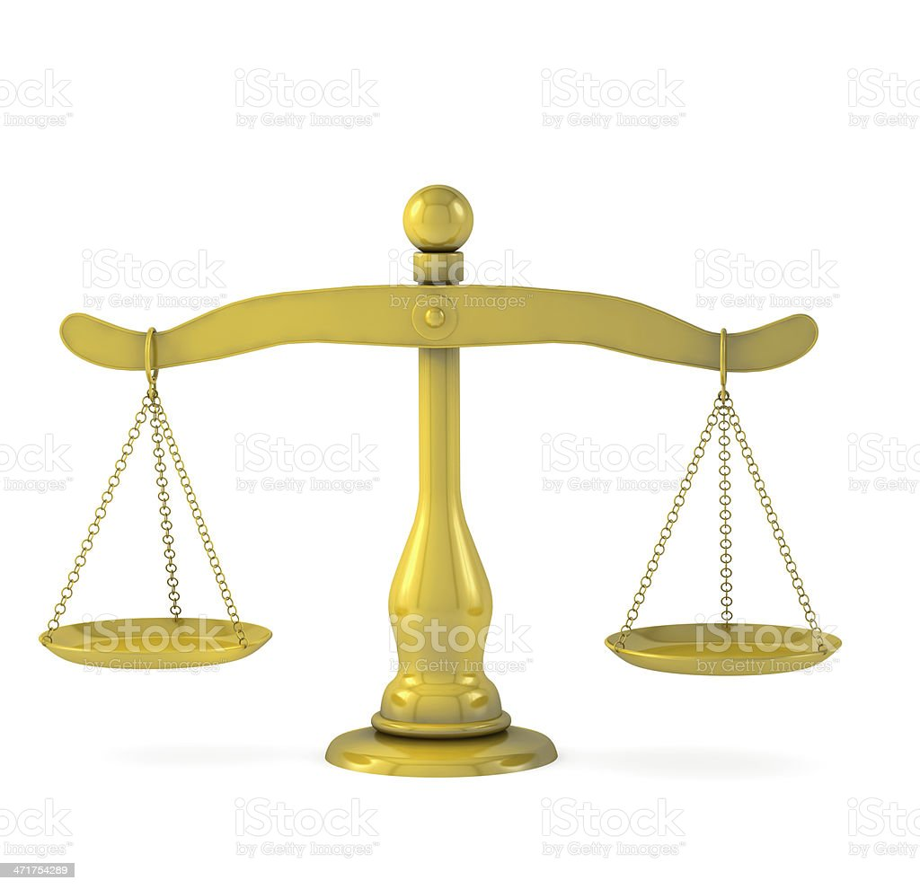 Golden scales of justice royalty-free stock photo