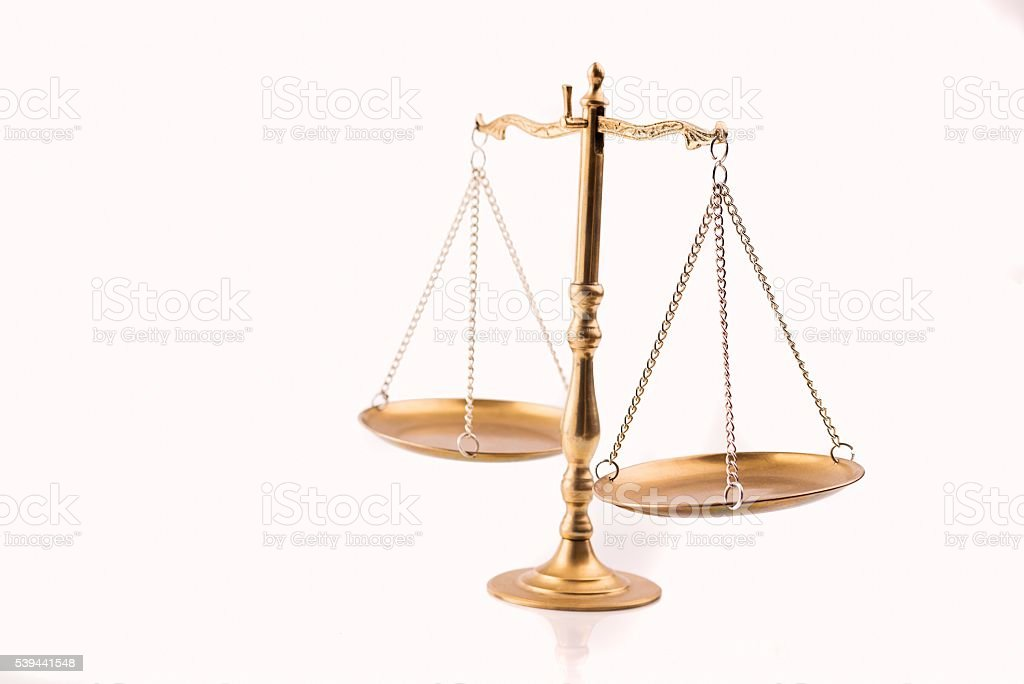 Golden scales of justice - the symbol of law stock photo